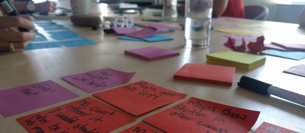 Sticky note sorting for design sprint